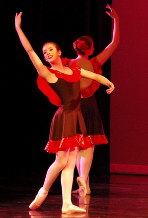 black adn red dance dress